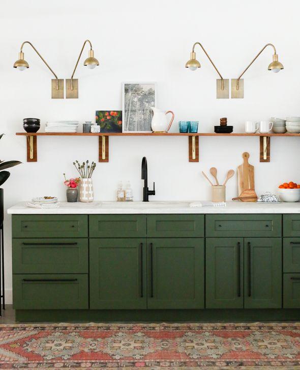 Studio Kitchen Reveal Cabinet Painting Tutorial Juniper Home Dark Green Kitchen Green Kitchen Cabinets Green Kitchen Decor