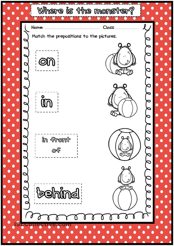 Preposition Worksheets For Pre K - Kidz Activities