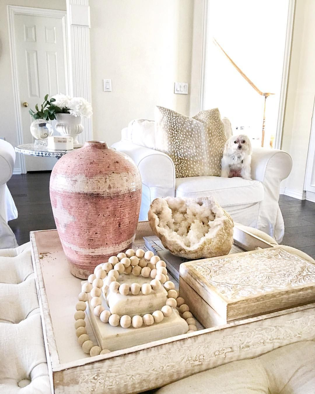 From @thriftyniftynest Blush pink. Blush pink decor. White living ...