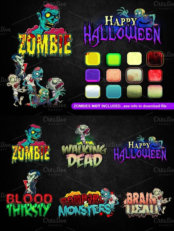 Cartoon Halloween Text Effect Halloween Text Halloween Cartoons Zombie Illustration