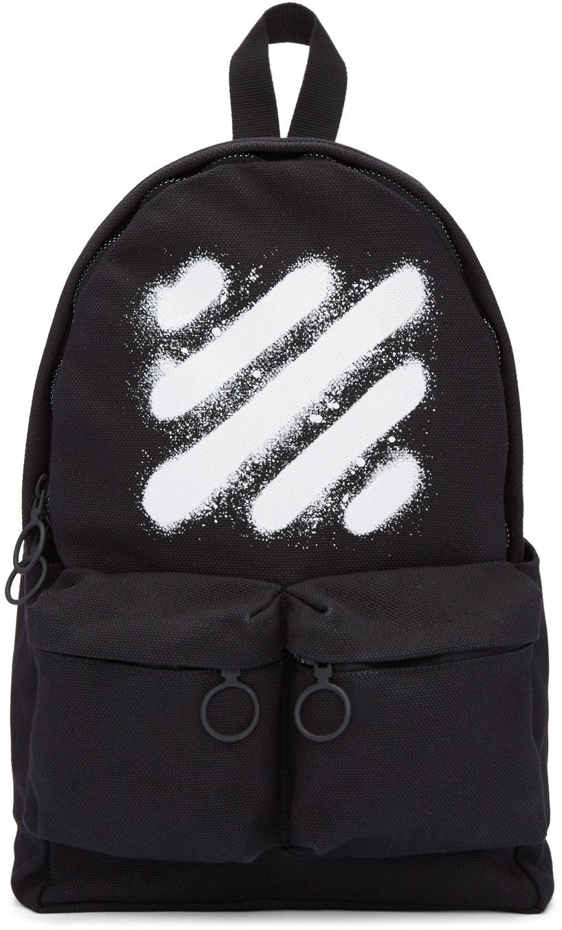 56c3f123d98 OFF-WHITE Black Diagonal Spray Backpack. #off-white #bags #lining #canvas  #backpacks #polyester #cotton #