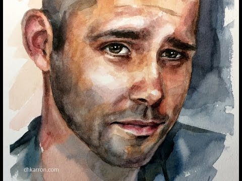 Watercolor Portrait Painting Sketch By Ch Karron Youtube Art