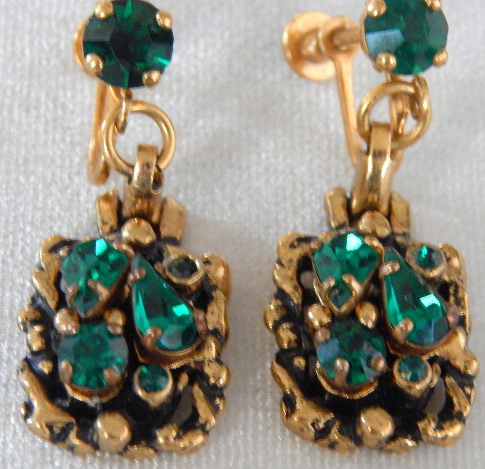 Vintage Barclay earring with green rhinestone screw