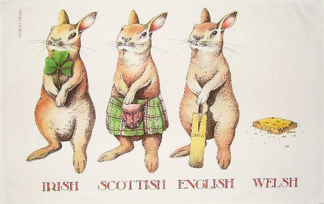 Irish Scottish English And Welsh Rabbit Tea Towel Welsh Rabbit Pet Puns Illustration