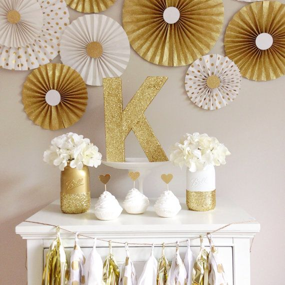 Party Backdrop Mint And Gold Paper Fan Backdrop Set Of 9 On