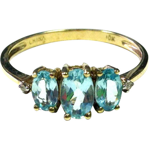 Pretty baby blue stones! such a pretty ring -- 3 Oval Apatites with Diamond Accents and 10K Yellow Gold