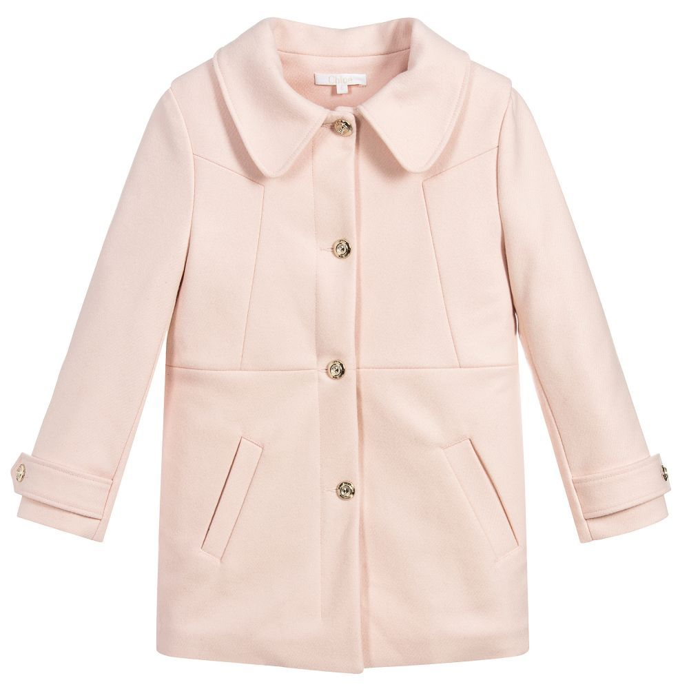 93de39eb5 Girls Pink Wool Coat for Girl by Chloé. Discover more beautiful ...