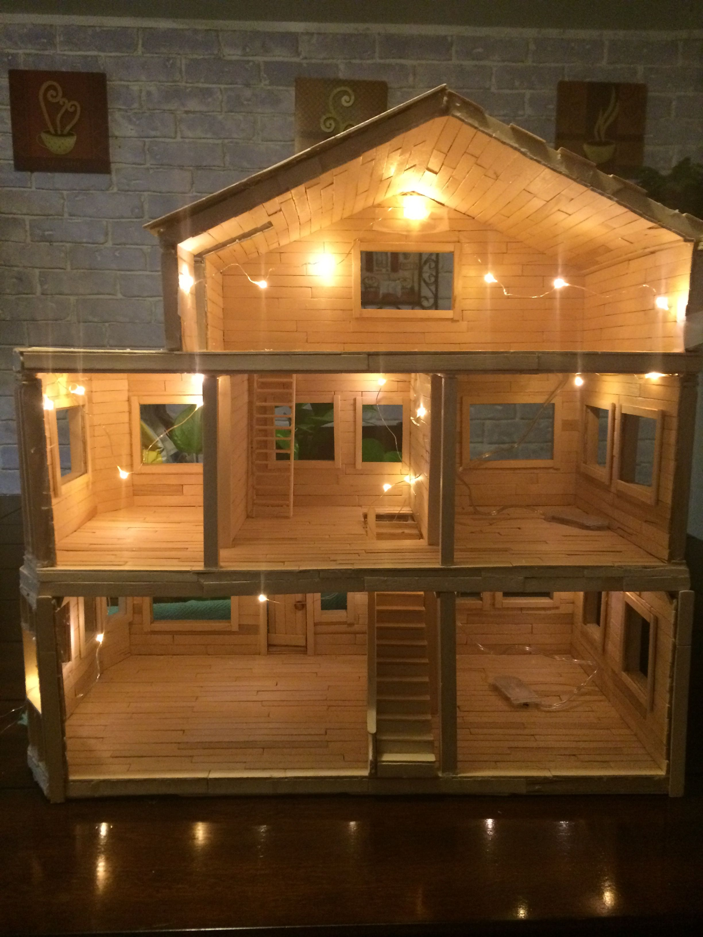 Dollhouse made entirely from Popsicle sticks | Dollhouse ...