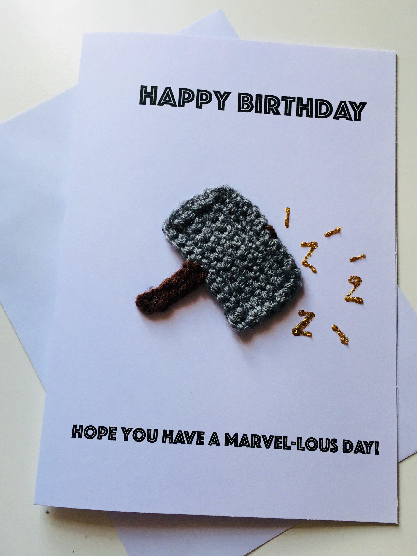 Thor Crochet Handmade Birthday Card Personalised Options Etsy Handmade Birthday Cards Birthday Cards Personal Cards