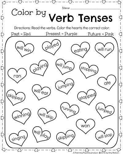 1st Grade February Worksheets - Color by Verb Tenses Past ...