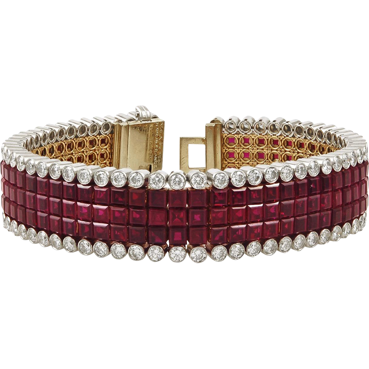 Van cleef u arpels diamond mysteryset ruby bracelet found on