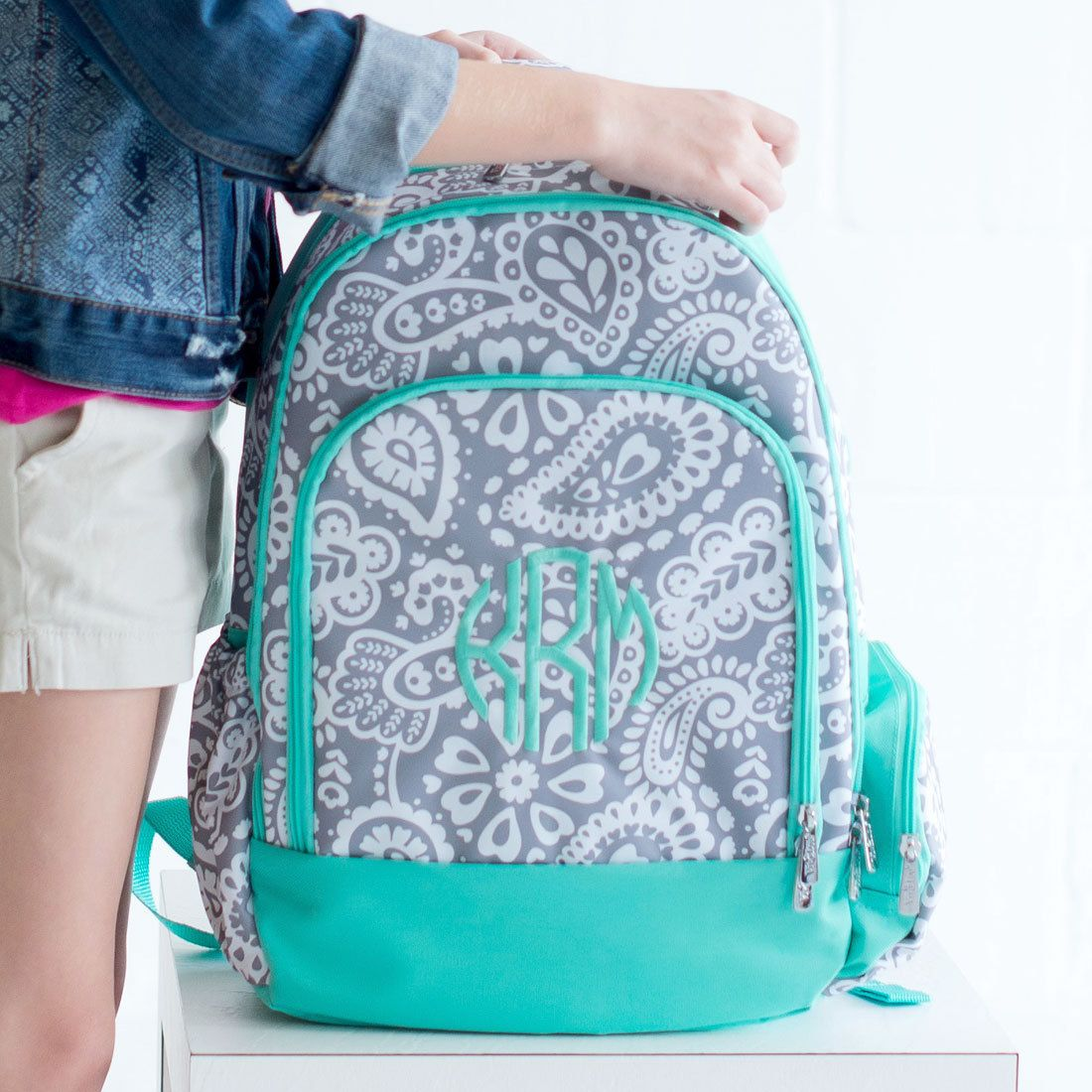 ecce797afabc Monogram Girl s Backpack - Paisley Knapsack - Personalized Backpack -  Girl s Backpack - Initials School Bag - Monogrammed Backpack - Gift by ...