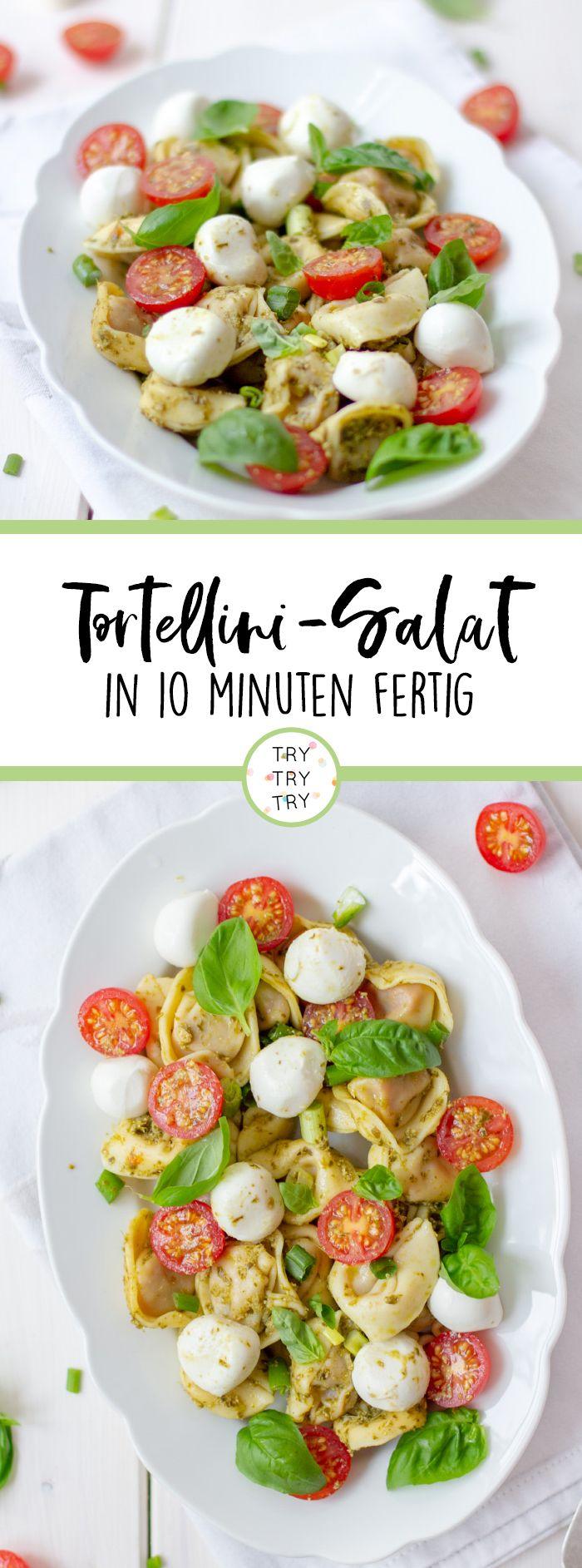Italienischer Tortellini-Salat - Das perfekte Rezept für Partys, Geburtstage oder andere Anlässe. Dieser sommerliche Salat ist in 10 Minuten fertig. Ganz schnell und einfach nachmachen. #schnellepartyrezepte