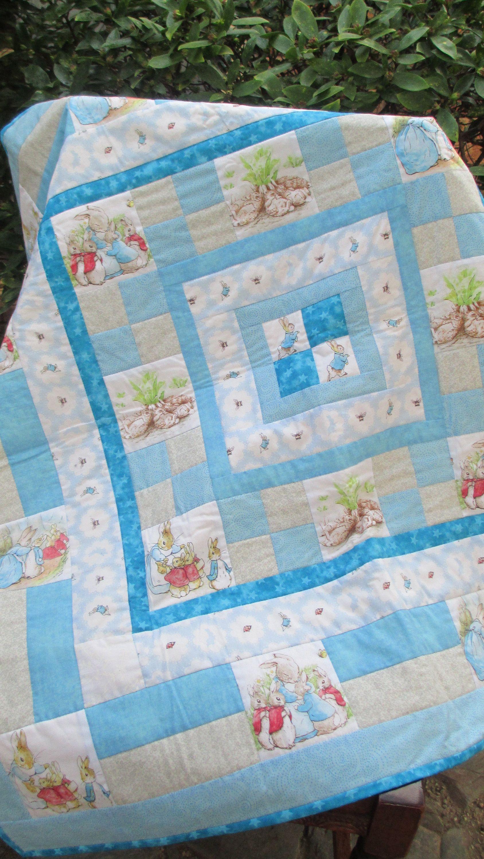 "Hand made quilt Peter Rabbit baby quilt child s quilt 39""x39"