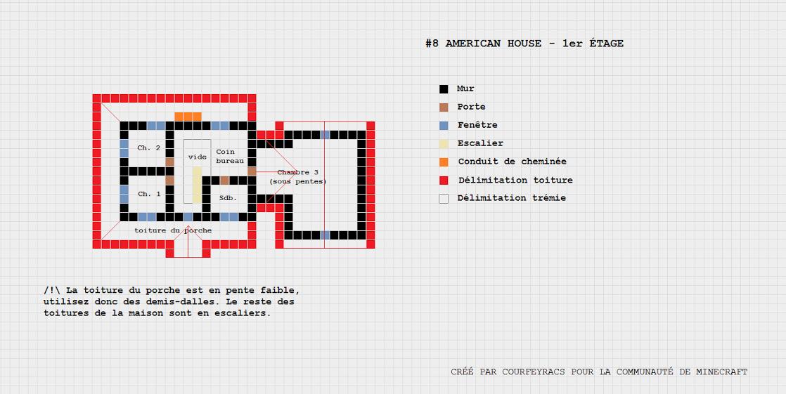 Exceptionnel Plan d'une maison style American House | Minecraft-Constructor  LQ98