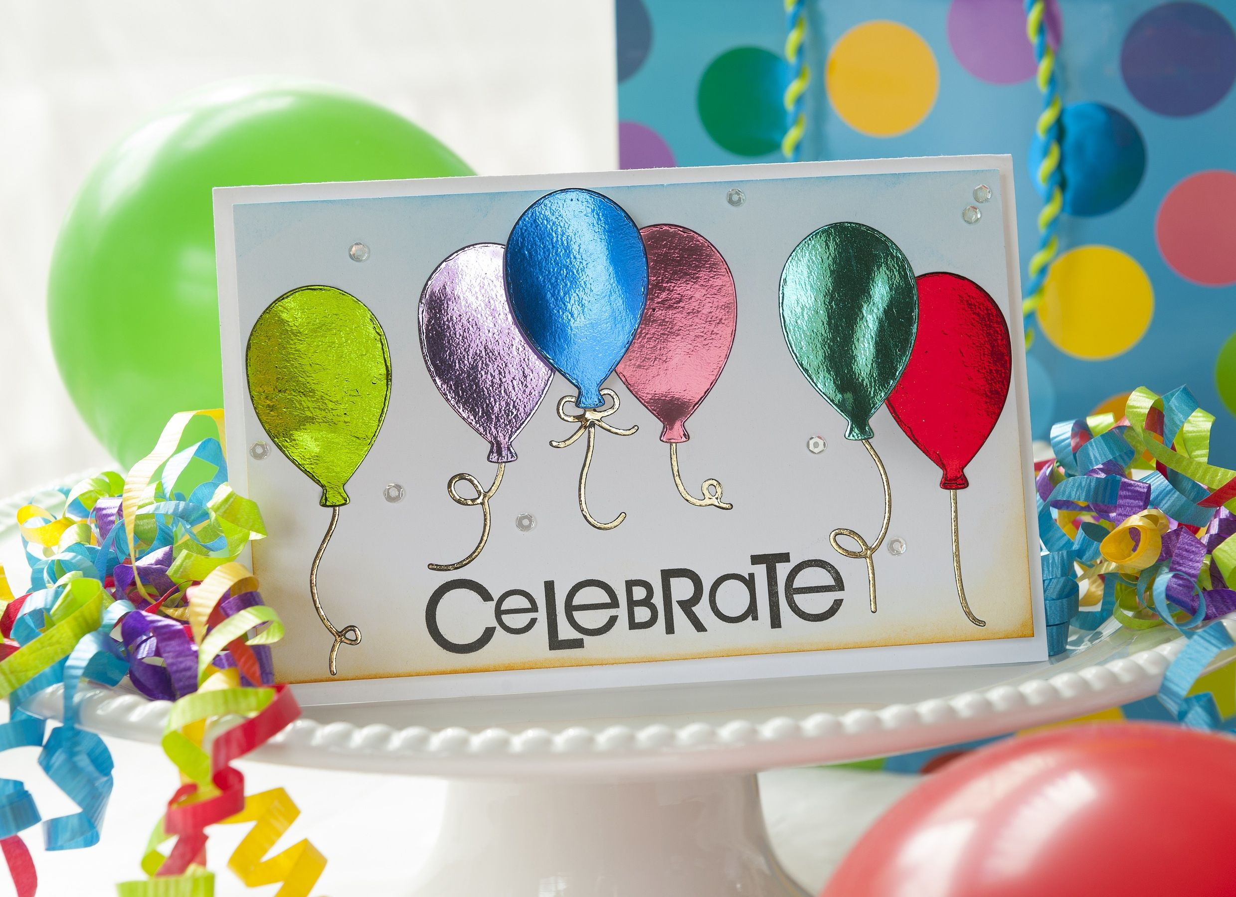 Celebate Card By Alice Golden For Thermoweb Using Deco Foil