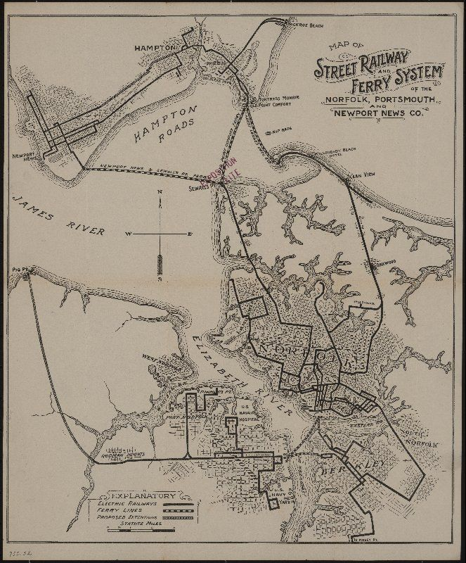 Map of street railway and ferry system of the Norfolk Portsmouth