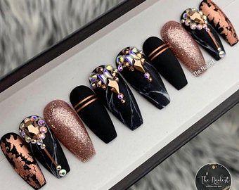 Rote Versace ägyptischen Swarovski Kristall Goldfolie   Valentinstag   Drücken Sie auf Nägel   Jede Form   Gefälschte Nägel   Falsche Nägel   Kleber auf Nägel