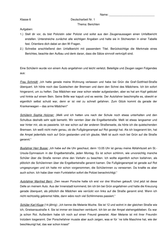 Bericht Uber Einen Unfall Klassenarbeit Mit Erwartungshorizont Unterrichtsmaterial Im Fach Deutsch Klassenarbeiten Erste Klasse Deutsch Unterricht