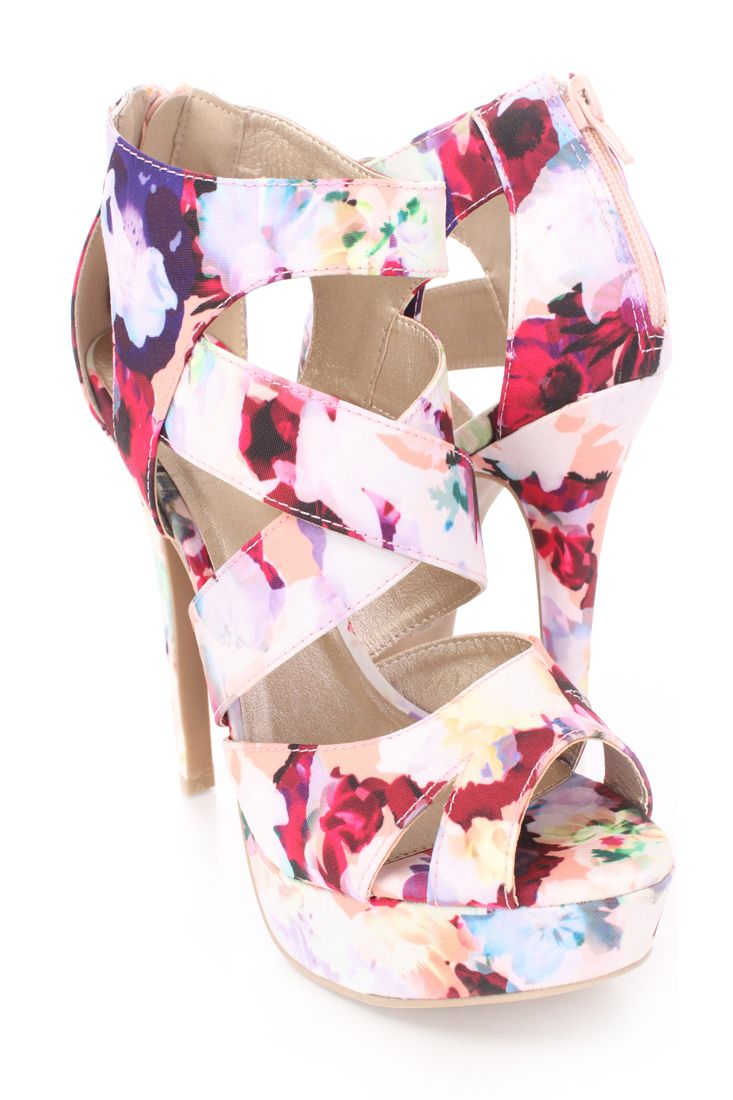Pink dress shoes for ladies  Salmon Strappy Platform Heels Printed Fabric  Moda  Pinterest