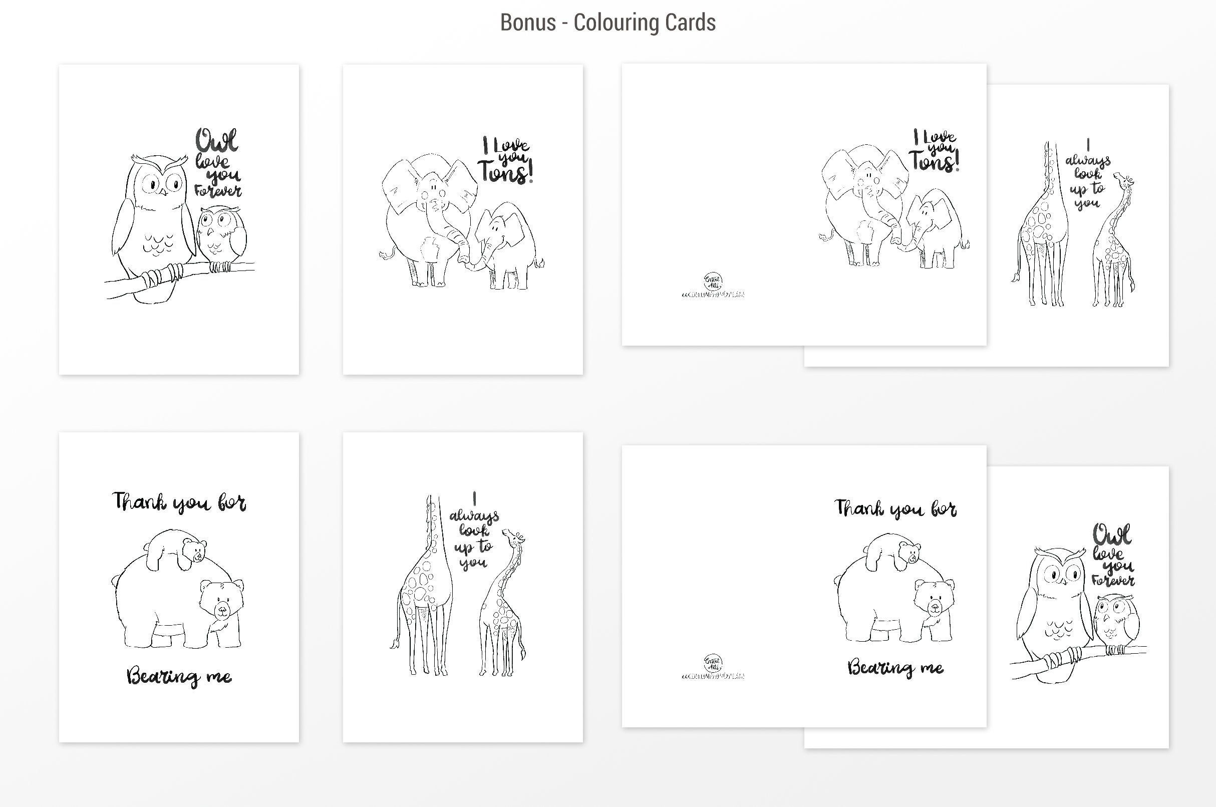 Set of Mother's/Father's Day animals cards colouring