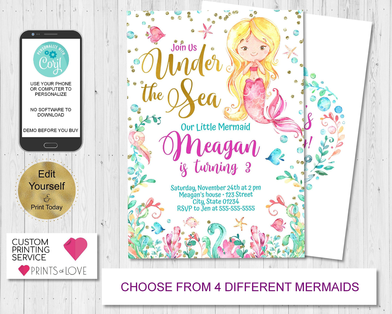 Mermaid Birthday Invitation Pink Purple Teal Mermaid Invitation