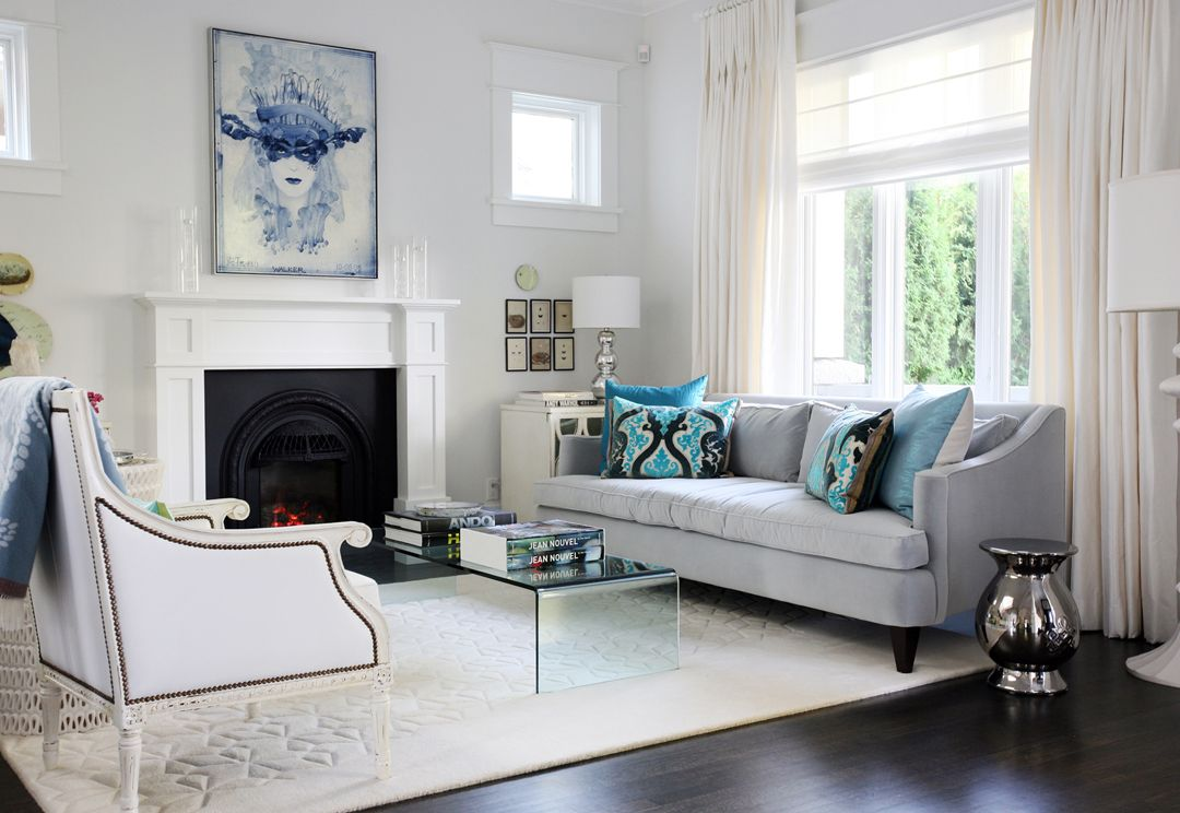 Janis Nicolay White Rug Gray Sofa White Chair With Black Details And Blue Accents In Living Room Living Room Turquoise Living Room Grey Turquoise Room