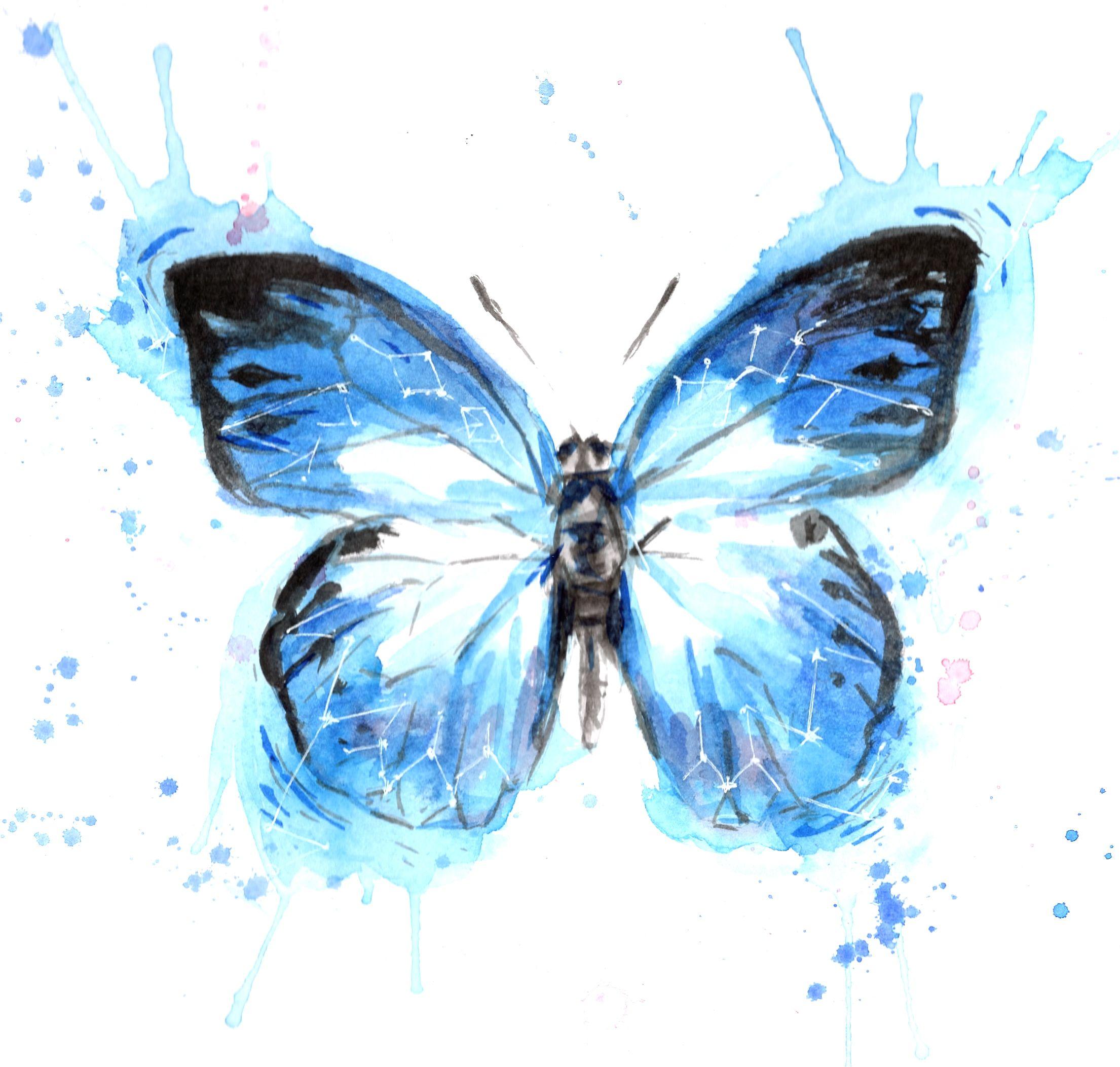 Butterfly Wall Art Blue Butterflies Watercolor Art Print Two