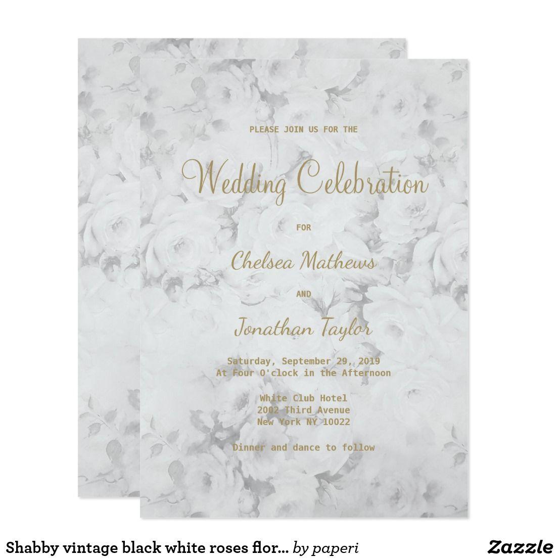 Shabby Vintage Black White Roses Floral Wedding Invitations