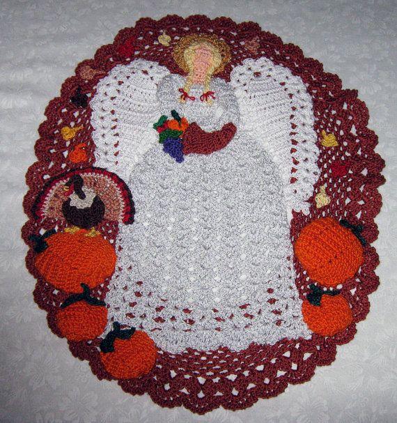 Crochet Cotton Doily Thanksgiving Angel pumpkins by mishap1165 ...