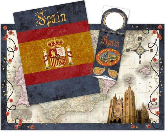 Spain Party Favor Set for Travel Themed Wedding, Birthday or Bon
