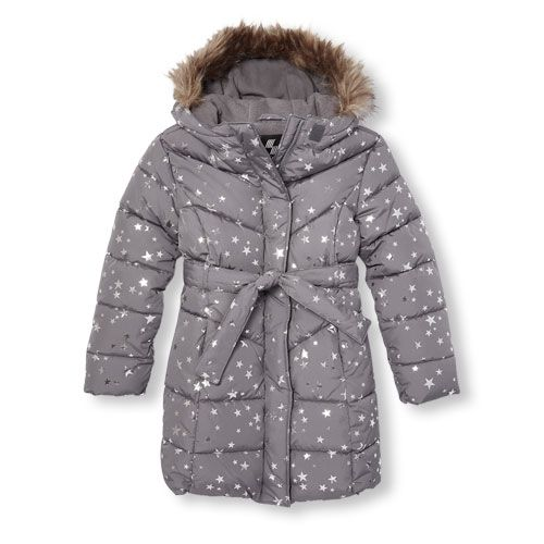 b194c716c s Long Sleeve Foil Star Print Faux Fur Hooded Lightweight Puffer ...