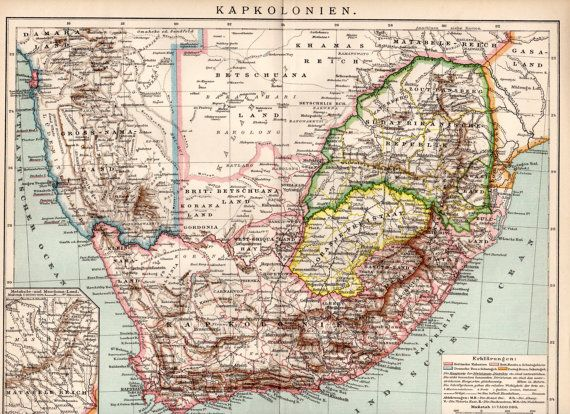 1884 South Africa Antique Map Print Cape Colony Kapkolonien