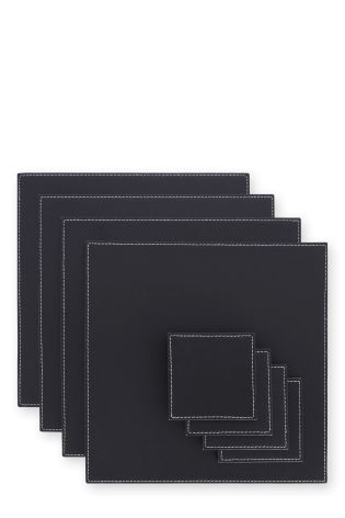 Buy Set Of 8 Square Reversible Faux Leather Table Mats And Coaster Set From The Next Uk Online Shop Table Mats Coaster Set Table Linens
