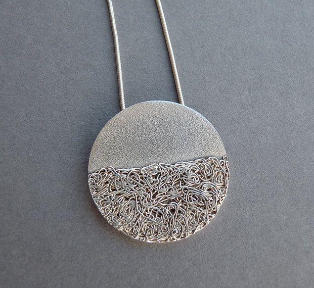 Silver pendant sterling silver fine silver silver necklace contemporary silver pendant pd3 6500 via etsy aloadofball Image collections