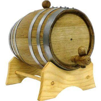 3 Liter Whiskey barrel keg beverage dispenser is made of American White Oak and has galvanized steel bands.