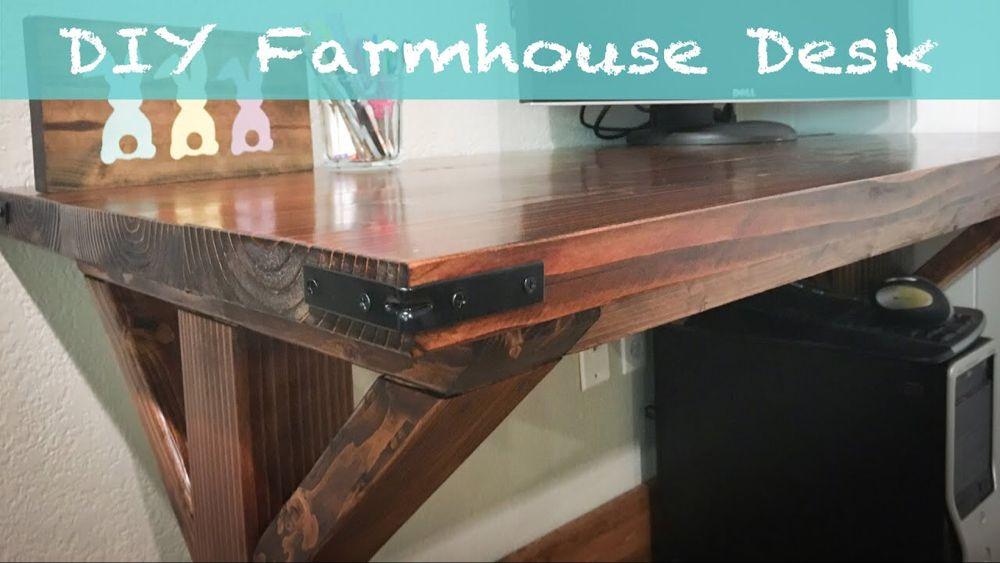 Diy farmhouse desk for 35 youtube in 2020 farmhouse