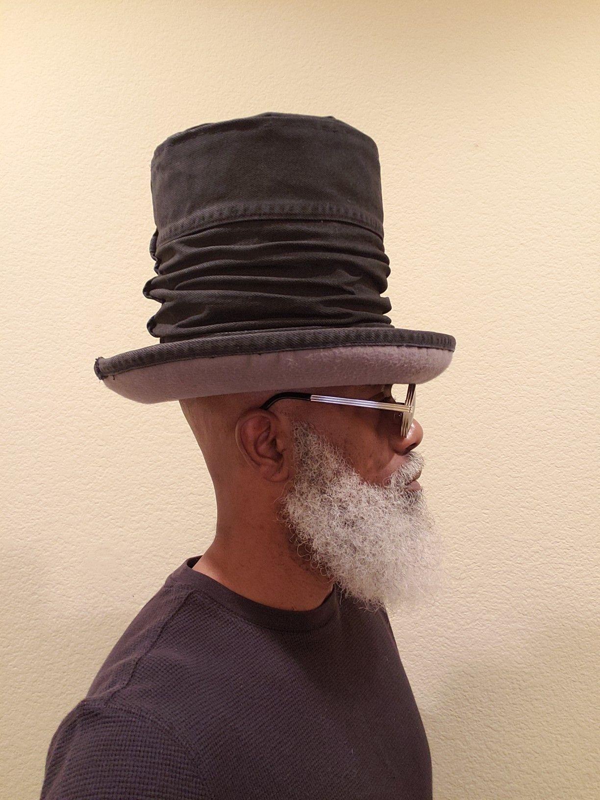 Olds Cool Rasta Style The Black Hatter Rockers Uptown Top Hat Scrunch Polyester Felt Blend Brim With A Black Denim Cr Hat Fashion Men Hats For Men Rasta