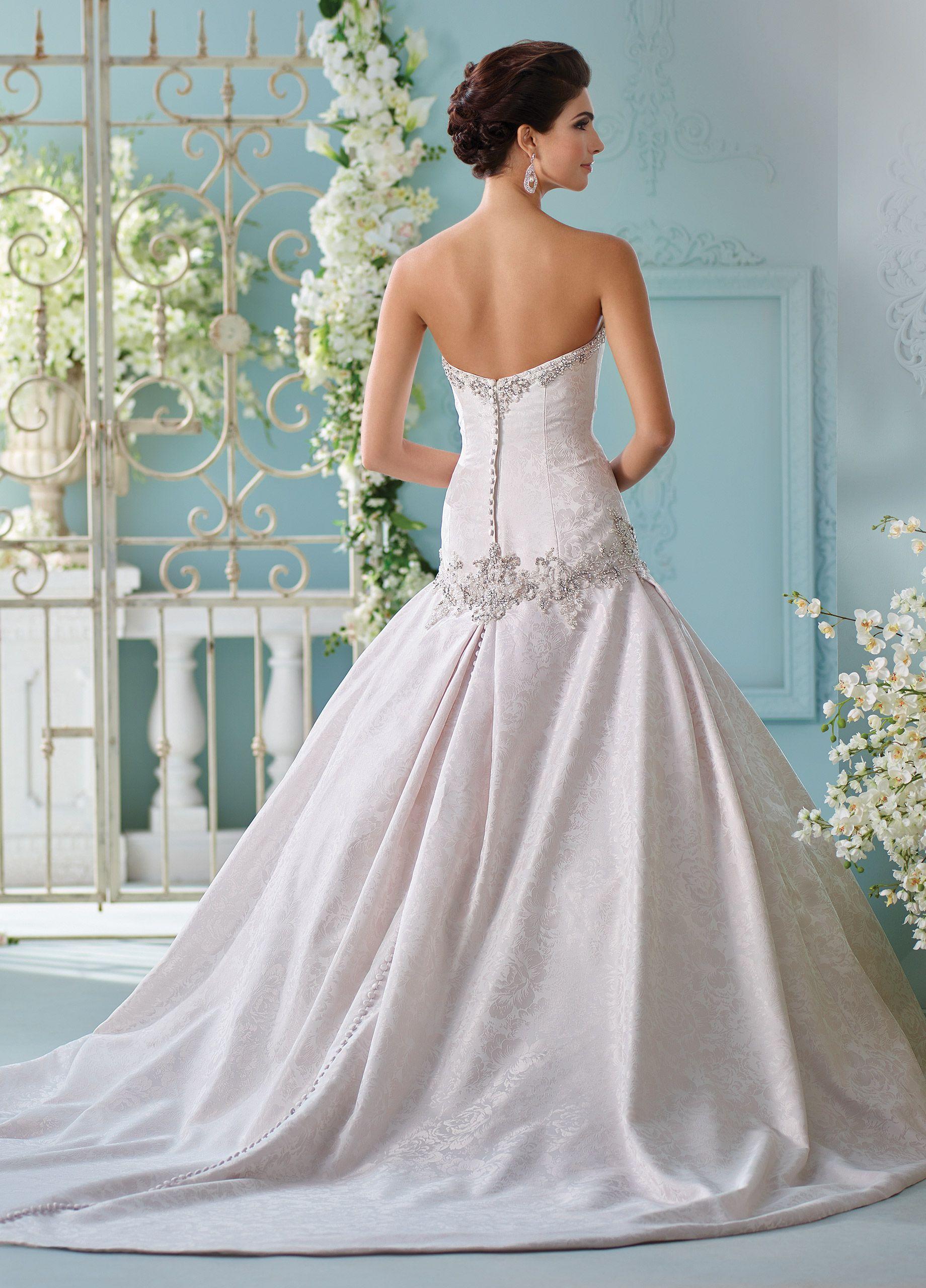 Mon cheri bridals cyan strapless jacquard full aline gown