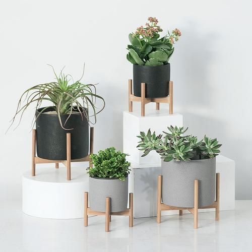 Concrete and Solid Wood Industrial Style Flower Pot and Succulent Planter is part of Cement planters -  This sturdy and high quality industrial style concrete and wooden planter is the perfect little addition to your home  Just load it up with your favorite plants and let them grow beautifully inside  Succulents aren't just beautiful, they're super lowmaintenance, too  Plant them in these gorgeous little pots and they