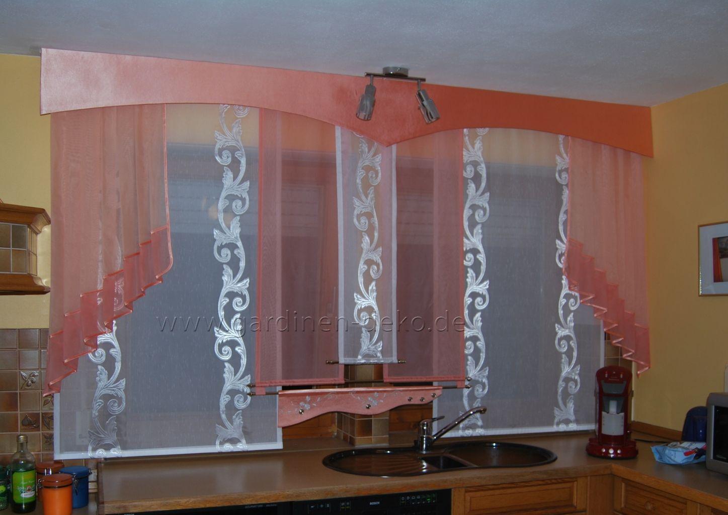 Wohnzimmer otto ~ Schiebegardine für die küche mit lachsfarbenen schals und