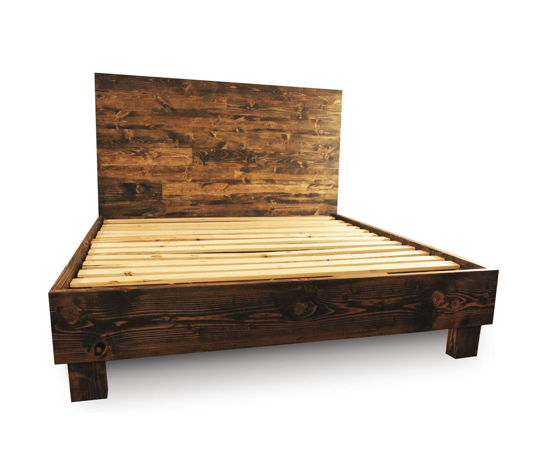 rustic solid wood platform bed frame headboard reclaimed wood