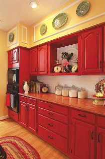 It S Here My Kitchen Featured In Country Woman Magazine The Everyday Home Red Kitchen Cabinets Red Kitchen Decor Painted Kitchen Cabinets Colors