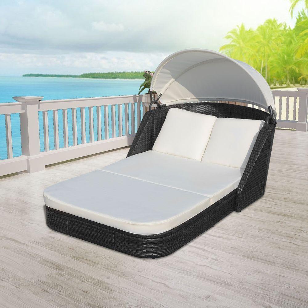 Canopy Daybed Outdoor Wicker Sun Sofa Lounge Leather Comparison Vidaxl Black Rattan Furniture Patio Pool 8718475969518 Ebay