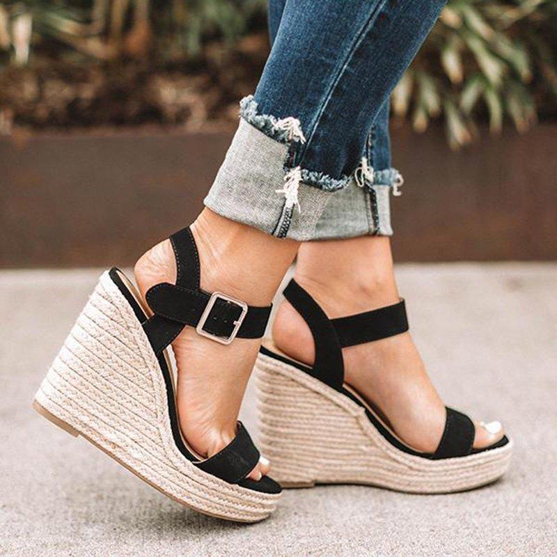 05a792d1e Women Elegant Adjustable Buckle Espadrille Wedges Sandals