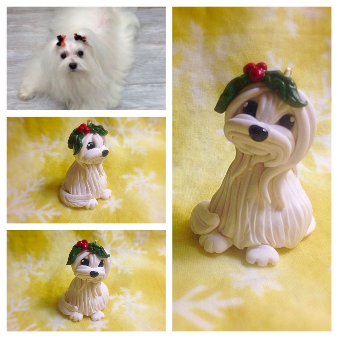 Maltese christmas ornaments - Maltese Dog With Holly Christmas Ornament Handmade From Sculpey Premo Polymer Clay To Inquire