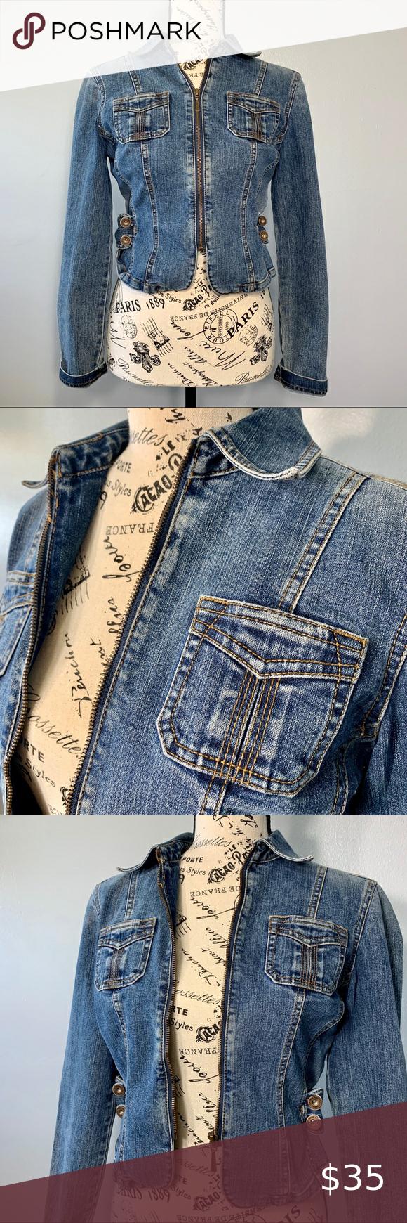 Dkny Denim Jacket Dkny Denim Jacket Super Cute Cropped Jean Jacket With Pockets And Zipper Approx Measurements 13 Bu Denim Jacket Jackets Cute Jean Jackets [ 1740 x 580 Pixel ]