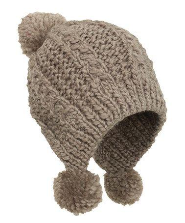 Look what I found on #zulily! Camel Pom-Pom Earflap Beanie ...