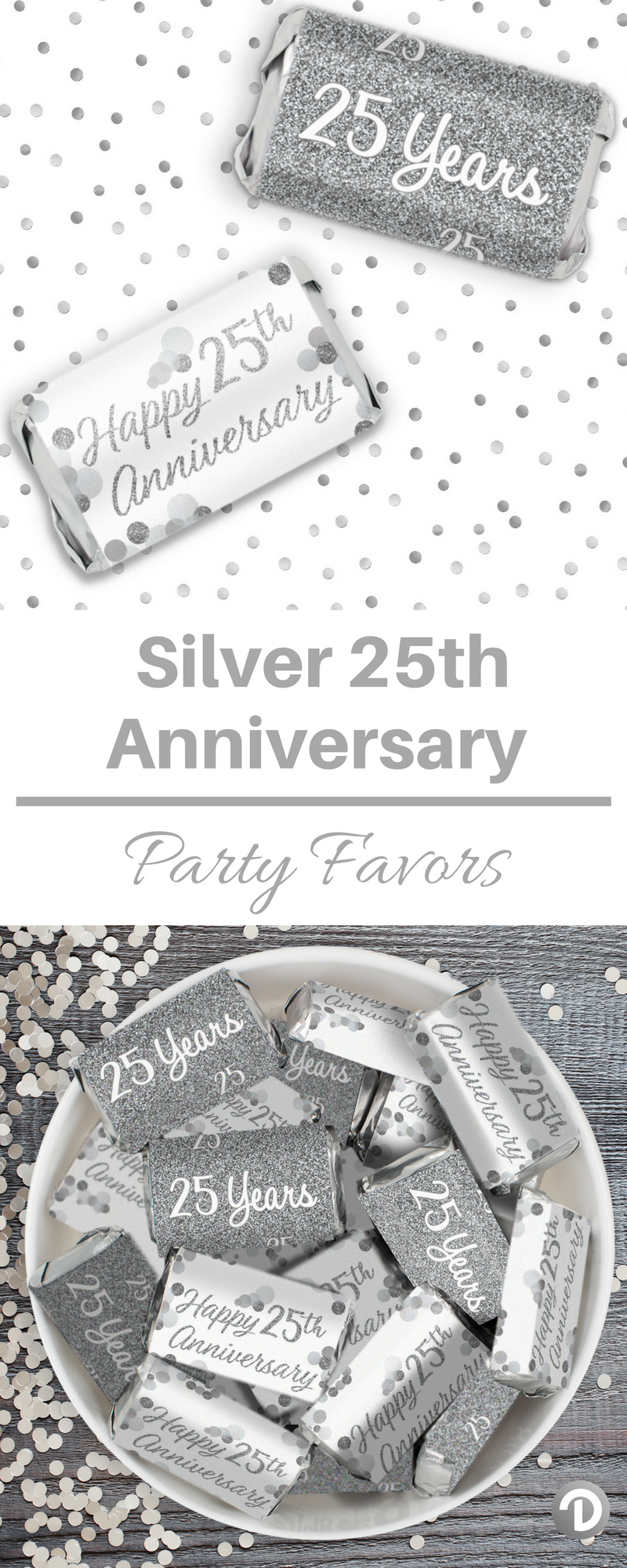 Silver 25th Anniversary - Mini Candy Bar Stickers (Set of 54 ...