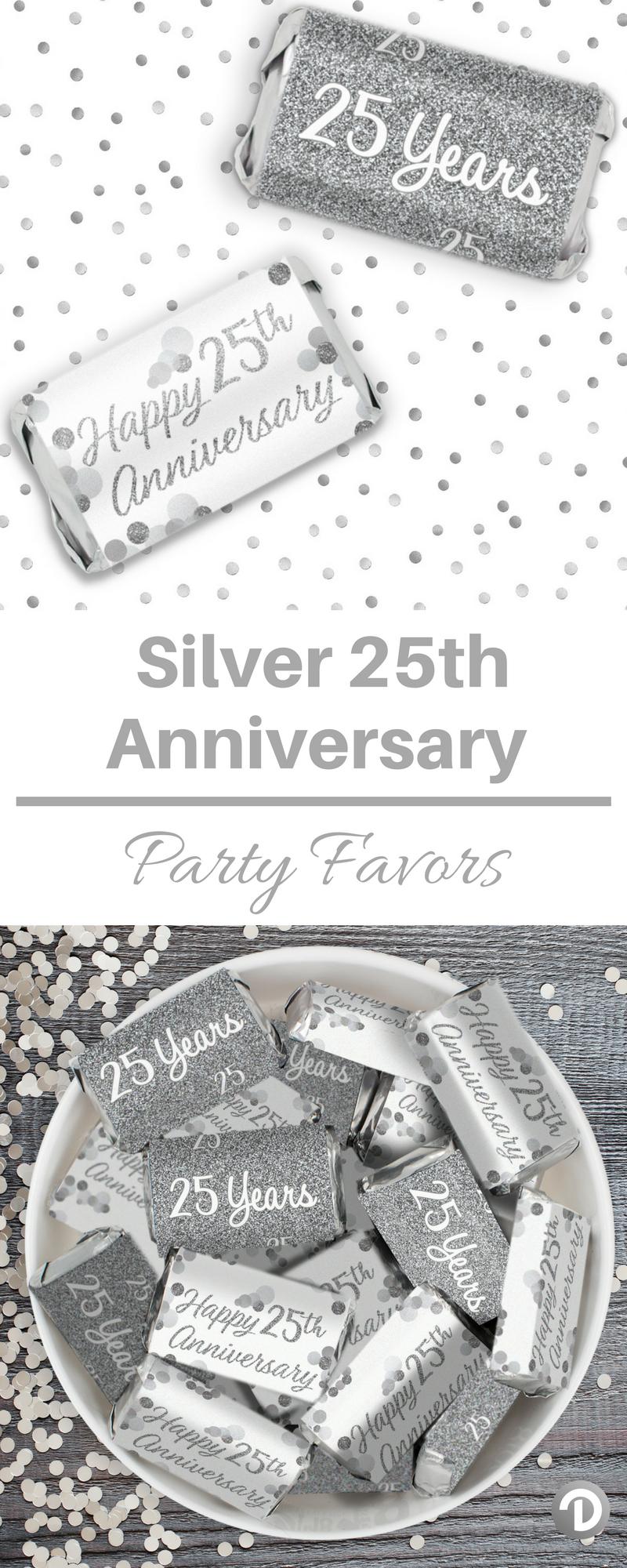 silver 25th anniversary mini candy bar stickers 54 count 25th